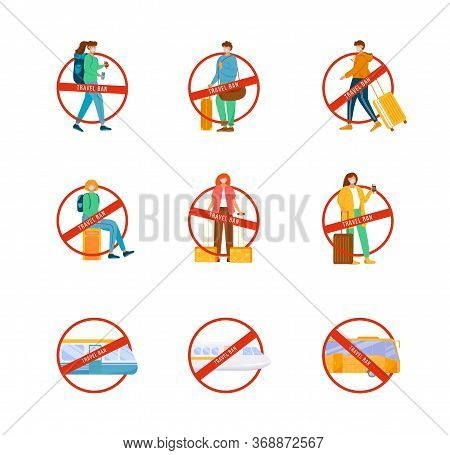 Travel Ban Flat Color Vector Faceless Characters Set. Stop Sign For Female, Male Passenger. Avoid Bu