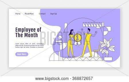 Employee Of The Month Landing Page Flat Silhouette Vector Template. Staff Motivation Homepage Layout