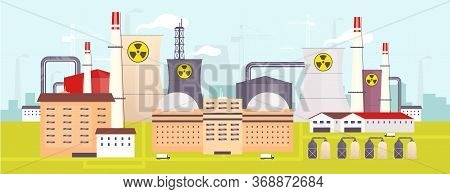 Nuclear Power Plant Flat Color Vector Illustration. Industrial Facility 2d Cartoon Landscape With At