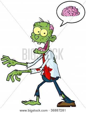 Cartoon Zombie And Speech Bubble