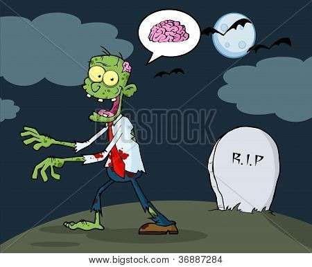Green Zombie Walking With Hands In Night