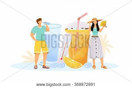 Summer Flat Concept Vector Illustration. Woman And Man In Hot Weather 2d Cartoon Characters For Web