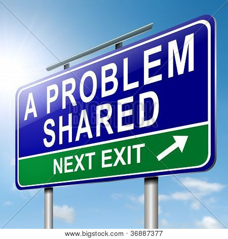 Illustration depicting a roadsign with 'a problem shared' concept. Blue sky background. poster