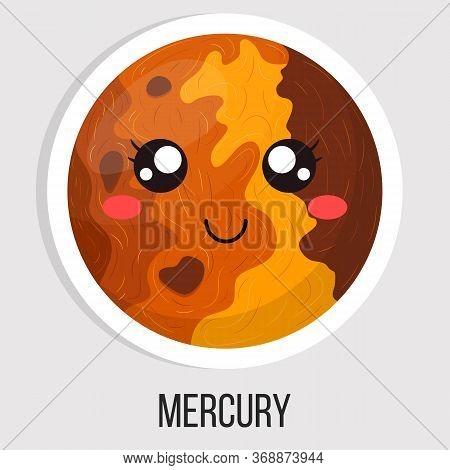 Cartoon Cute Mercury Planet Isolated On White Background. Planet Of Solar System. Cartoon Style Illu