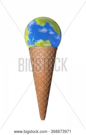 Planet earth icecream cookie cone  isolated on white background.