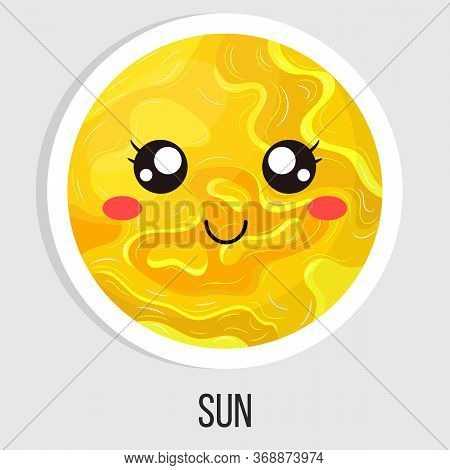 Cartoon Cute Sun Star Planet Isolated On White Background. Solar System. Cartoon Style Illustration