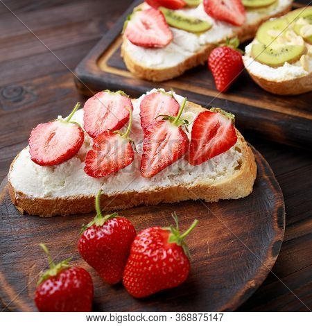 Strawberry Bruschetta With Cottage Cheese. Homemade Healthy Toast, Delicious Snack For Kids. Fruit S