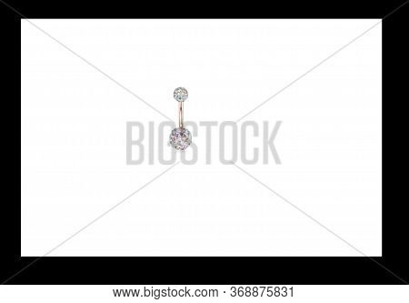 Jewelry For The Nose Piercing And Body Piercing On White Background Inside A  Black  Frame