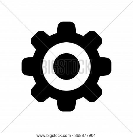 Circle Cog Black For Mechanization Icon Isolated On White, Simple Circle Cog Shape For Engineering M