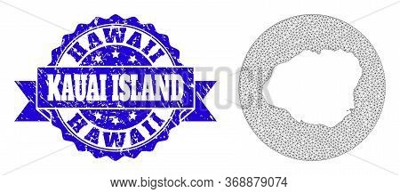 Mesh Vector Map Of Kauai Island With Grunge Seal. Triangular Mesh Map Of Kauai Island Is Cut Out Fro