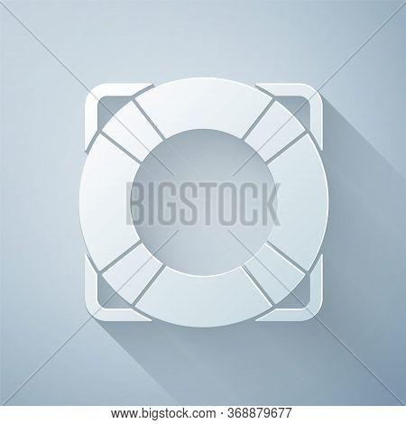 Paper Cut Lifebuoy Icon Isolated On Grey Background. Lifebelt Symbol. Paper Art Style. Vector. Illus