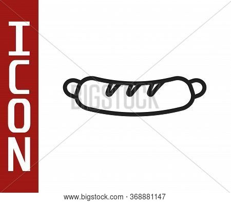 Black Line Hotdog Sandwich Icon Isolated On White Background. Sausage Icon. Fast Food Sign. Vector.