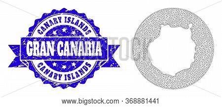 Mesh Vector Map Of Gran Canaria With Grunge Seal Stamp. Triangle Network Map Of Gran Canaria Is Inve