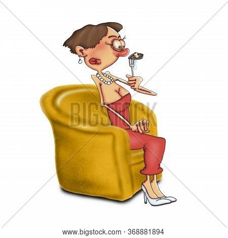 A Woman Is Sitting In A Chair And Holding A Not Fresh Oyster On A Fork. Cartoon Caricature On A Whit