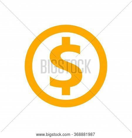 Dollar Currency Coin Orange For Icon Isolated On White, Coin Dollar Money Yellow Gold For Icon, Doll