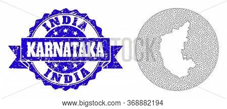 Mesh Vector Map Of Karnataka State With Grunge Watermark. Triangular Mesh Map Of Karnataka State Is