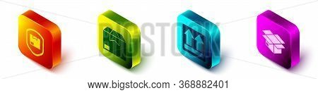 Set Isometric Delivery Pack Security With Shield, Carton Cardboard Box, This Side Up And Carton Card