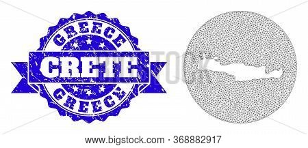 Mesh Vector Map Of Crete Island With Scratched Watermark. Triangle Mesh Map Of Crete Island Is Cut O
