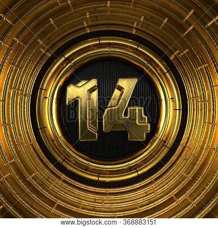 Gold Number 14 (number Fourteen) With Perforated Black Metal Background And Gold Rings Around. 3d Il
