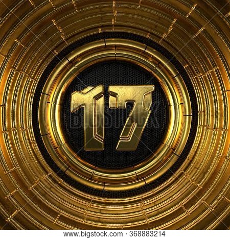 Gold Number 17 (number Seventeen) With Perforated Black Metal Background And Gold Rings Around. 3d I