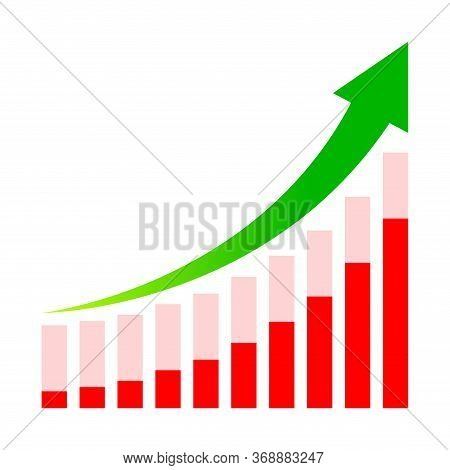 Business Graph And Arrow Progress Green Isolated On White, Green Arrow Pointing Up Over Chart Bar Gr