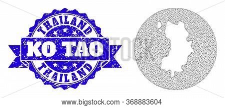 Mesh Vector Map Of Ko Tao With Scratched Stamp. Triangular Net Map Of Ko Tao Is Subtracted From A Ci