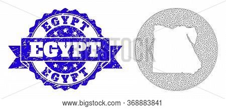 Mesh Vector Map Of Egypt With Scratched Seal Stamp. Triangular Network Map Of Egypt Is Carved In A C
