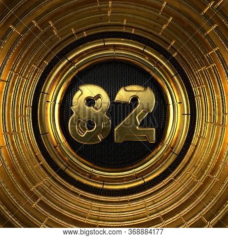 Gold Number 82 (number Eighty-two) With Perforated Black Metal Background And Gold Rings Around. 3d