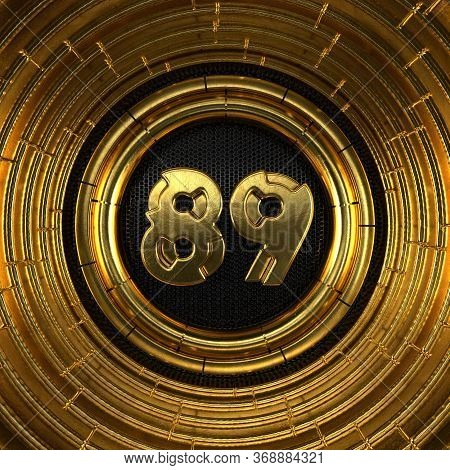 Gold Number 89 (number Eighty-nine) With Perforated Black Metal Background And Gold Rings Around. 3d