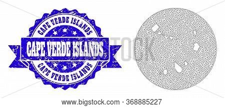Mesh Vector Map Of Cape Verde Islands With Scratched Stamp. Triangular Net Map Of Cape Verde Islands