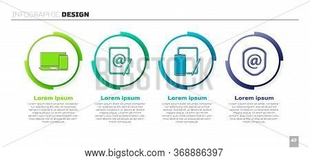 Set Monitor And Phone, Mail And E-mail, Phone And Graphic Tablet And Shield With Mail And E-mail. Bu