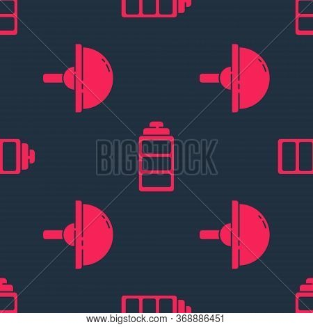 Set Light Emitting Diode And Battery Charge Level Indicator On Seamless Pattern. Vector.