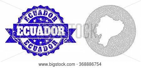Mesh Vector Map Of Ecuador With Grunge Stamp. Triangular Mesh Map Of Ecuador Is A Hole In A Round Sh