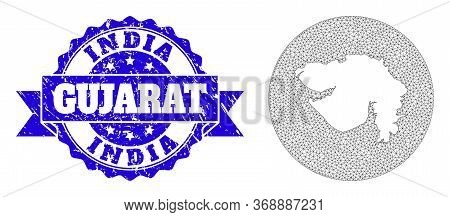 Mesh Vector Map Of Gujarat State With Scratched Stamp. Triangular Mesh Map Of Gujarat State Is A Hol