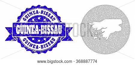 Mesh Vector Map Of Guinea-bissau With Grunge Seal Stamp. Triangle Network Map Of Guinea-bissau Is A