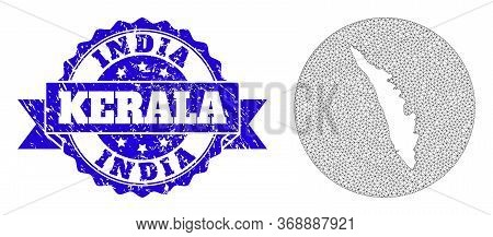 Mesh Vector Map Of Kerala State With Scratched Stamp. Triangle Mesh Map Of Kerala State Is Stencils