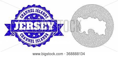 Mesh Vector Map Of Jersey Island With Scratched Stamp. Triangular Mesh Map Of Jersey Island Is Inver