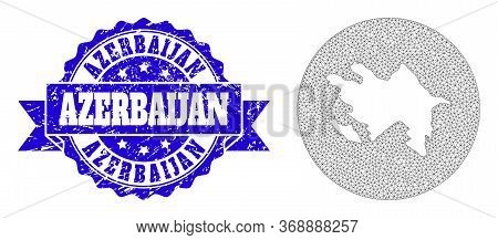 Mesh Vector Map Of Azerbaijan With Scratched Stamp. Triangle Mesh Map Of Azerbaijan Is Stencils In A