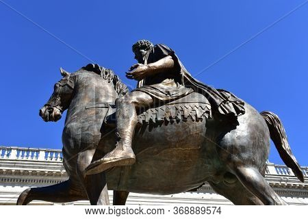 Rome, Italy. October 9, 2019. Marcus Aurelius Equestrian Bronze Statue Replica Located At Piazza Del