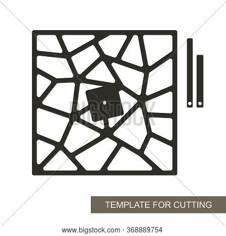 Unusual Square Wall Clock With An Abstract Geometric Pattern. Dial Without Numbers, Minute And Hour