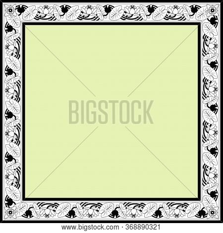 Vintage Square Frame With Lotuses. Art Nouveau Style. Vector.
