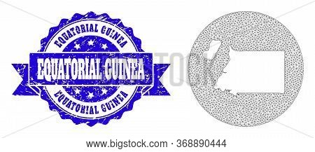 Mesh Vector Map Of Equatorial Guinea With Grunge Watermark. Triangle Mesh Map Of Equatorial Guinea I