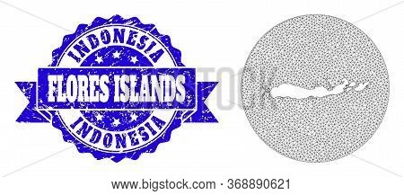 Mesh Vector Map Of Indonesia - Flores Islands With Scratched Seal. Triangular Net Map Of Indonesia -