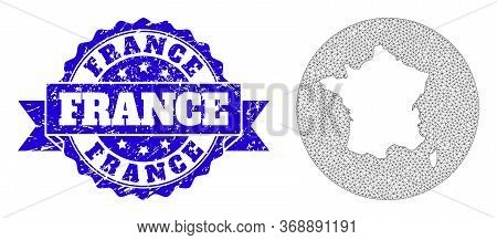 Mesh Vector Map Of France With Grunge Seal Stamp. Triangle Net Map Of France Is A Hole In A Circle.