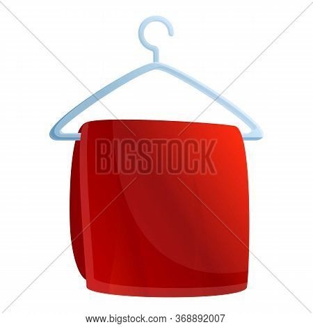 Bath Towel On Hanger Icon. Cartoon Of Bath Towel On Hanger Vector Icon For Web Design Isolated On Wh
