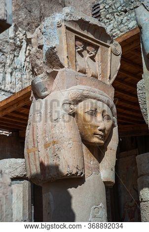 Hathor Column At The Mortuary Temple Of Hatshepsut In Deir El Bahari, Luxor, Egypt