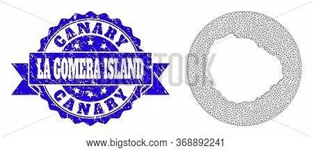 Mesh Vector Map Of La Gomera Island With Scratched Seal Stamp. Triangle Mesh Map Of La Gomera Island