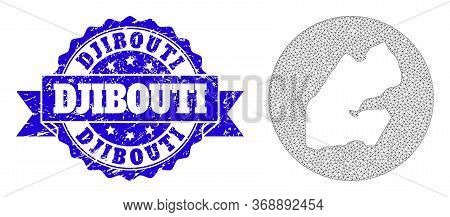 Mesh Vector Map Of Djibouti With Scratched Seal Stamp. Triangle Net Map Of Djibouti Is Subtracted Fr