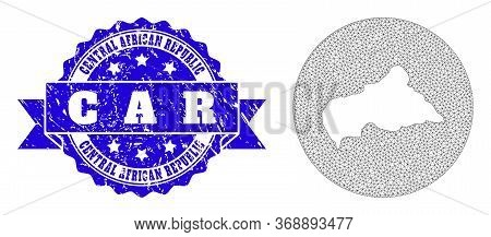 Mesh Vector Map Of Central African Republic With Grunge Seal Stamp. Triangular Mesh Map Of Central A