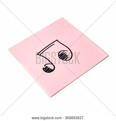 Isolated Sticker With The Image Of The Note Symbol On A White Background